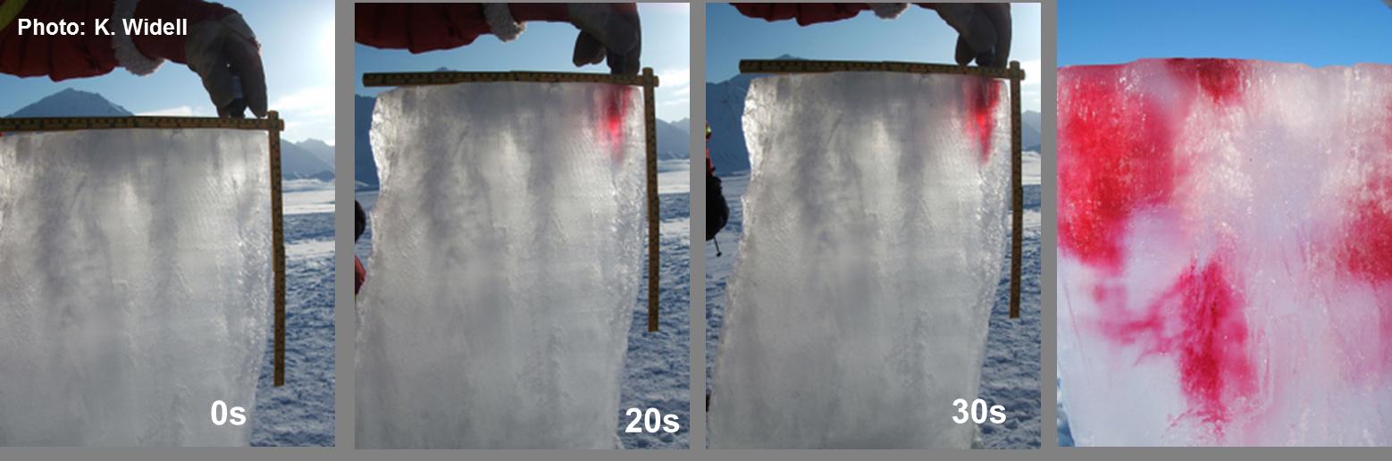 """Så här såg det nut när vis log karamellfärg på tjock is från en fjord på Svalbard en """"varm"""" dag i maj! Foto: K. Widell"""